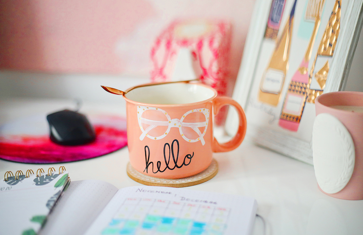 Pink mug on a desk in a first time buyer's home