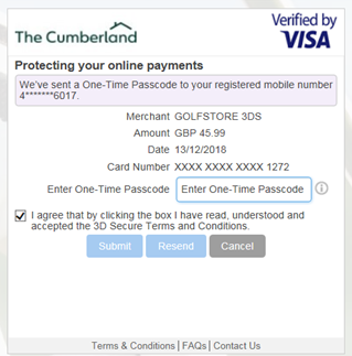 Verified by Visa - FAQs | The Cumberland